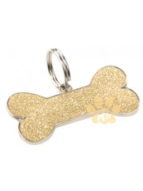 CHAPA HUESO GLITTER GOLD K9